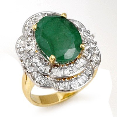 Genuine 7.04 ctw Emerald & Diamond Ring 14K Yellow Gold
