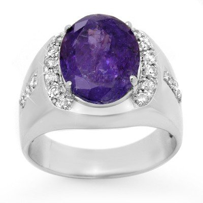 Genuine 7.33ctw Tanzanite & Diamond Men's Ring 10K Gold