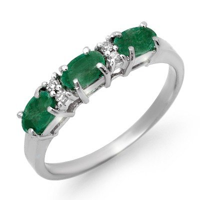 Genuine 0.88 ctw Emerald & Diamond Ring 10K White Gold