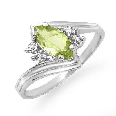 Genuine 0.48 ctw Peridot & Diamond Ring 10K White Gold