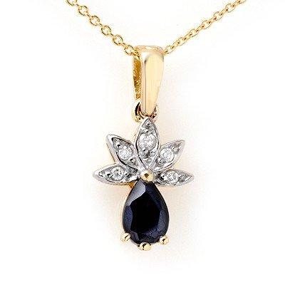 Genuine 0.60 ctw Sapphire & Diamond Pendant 10K Gold