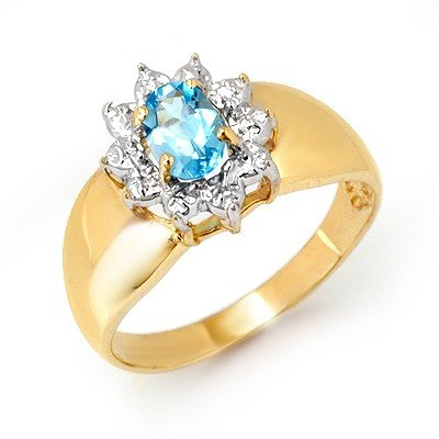 Genuine 0.50 ctw Blue Topaz Ring 10K Yellow Gold
