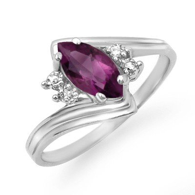 Genuine 0.48 ctw Amethyst & Diamond Ring 10K White Gold