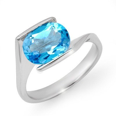 Genuine 3.0 ctw Blue Topaz Ring 10K White Gold