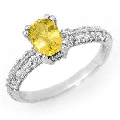 Genuine 2.0 ctw Yellow Sapphire & Diamond Ring 14K Gold
