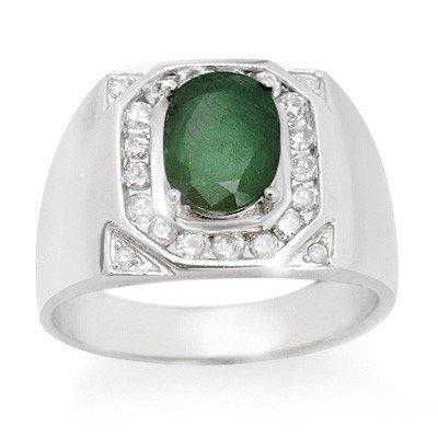 Genuine 2.60 ctw Emerald & Diamond Men's Ring 14K Gold