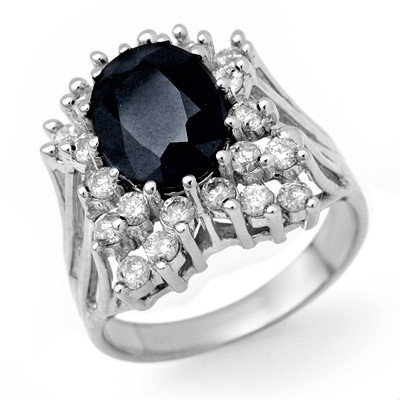 Genuine 5.15 ctw Sapphire & Diamond Ring 14K White Gold