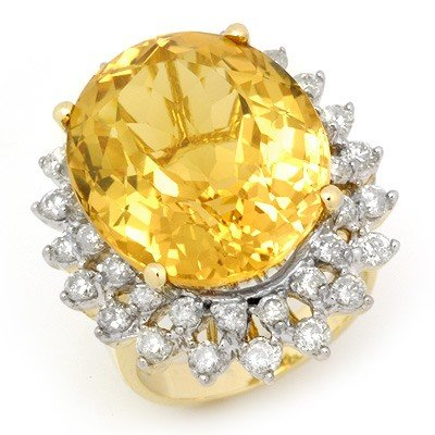 Genuine 20 ctw Citrine & Diamond Ring 14K Yellow Gold