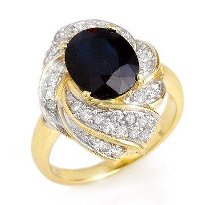 Genuine 3.85 ctw Sapphire & Diamond Ring 14K Yellow Gol
