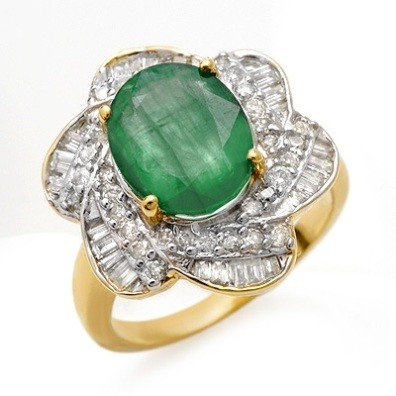 Genuine 5.15 ctw Emerald & Diamond Ring 14K Yellow Gold