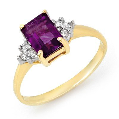 Genuine 1.16ctw Amethyst & Diamond Ring 10K Yellow Gold