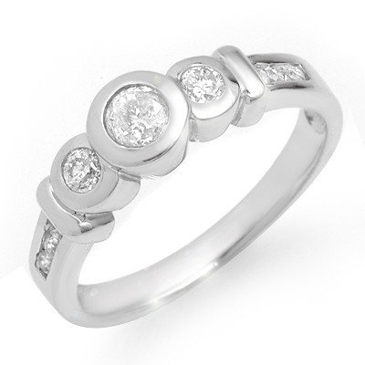 Natural 0.55 ctw Diamond Ring 14K White Gold