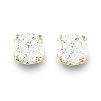 Natural 0.90 ctw Diamond Stud Earrings 14K Yellow Gold