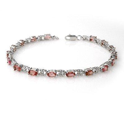 Genuine 4.7 ctw Pink Tourmaline & Diamond Bracelet Gold