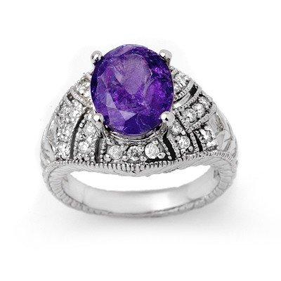 Genuine 4.15ctw Tanzanite & Diamond Ring 14K White Gold