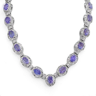 Genuine 38.7 ctw Tanzanite & Diamond Necklace 14K Gold