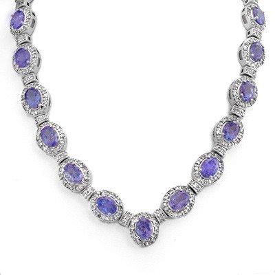 Genuine 38.7 ctw Tanzanite & Diamond Necklace 14K Gold