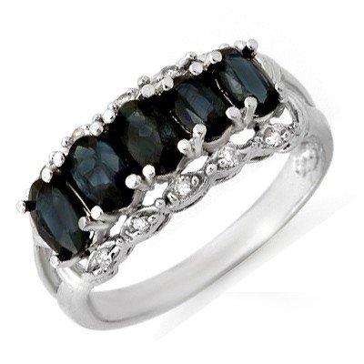 Genuine 2.0 ctw Sapphire & Diamond Ring 10K White Gold