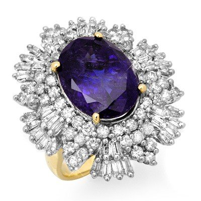 Genuine 13.25 ctw Tanzanite & Diamond Ring 14K Gold