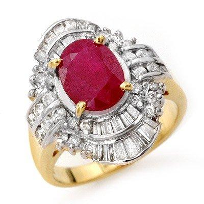 Genuine 4.58 ctw Ruby & Diamond Ring 14K Yellow Gold