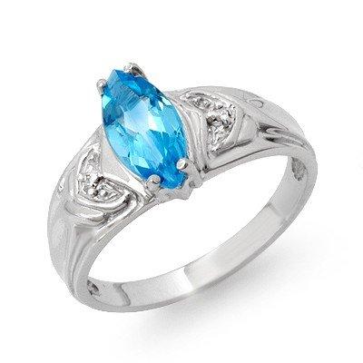 Genuine 1.25 ctw Blue Topaz & Diamond Ring White Gold