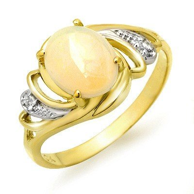Genuine 1.05 ctw Opal & Diamond Ring 10K Yellow Gold