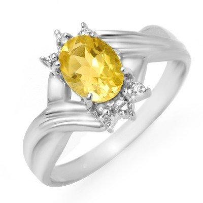 Genuine 1.04 ctw Citrine & Diamond Ring 10K White Gold