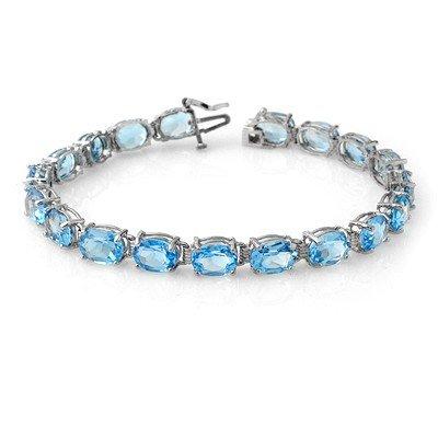 Genuine 30 ctw Blue Topaz Bracelet 10K White Gold