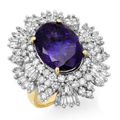 Genuine 13.25 ctw Tanzanite & Diamond Ring 14K Gold