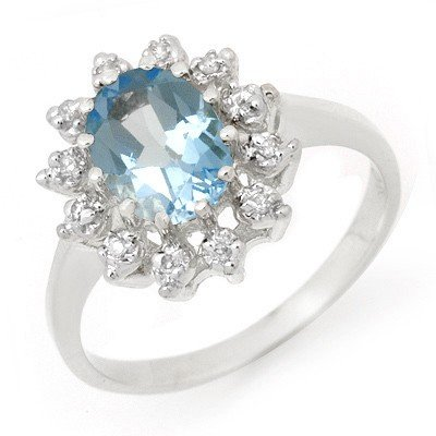 Genuine 1.51 ctw Blue Topaz & Diamond Ring White Gold