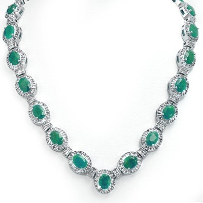 Genuine 37.7 ctw Emerald & Diamond Necklace White Gold