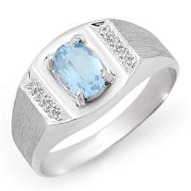 Genuine 2.0 ctw Blue Topaz Men's Ring 10K White Gold