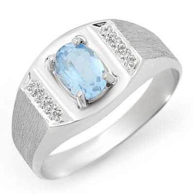 Genuine 2.0 ctw Blue Topaz Men's Ring 10K White Gold