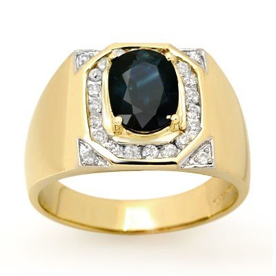 Genuine 3.1 ctw Sapphire & Diamond Men's Ring 14K Gold