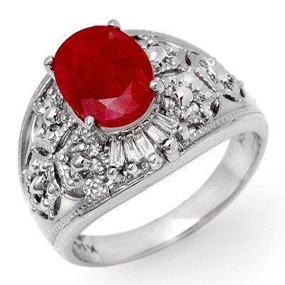 Genuine 3.07 ctw Ruby & Diamond Ring 14k Gold