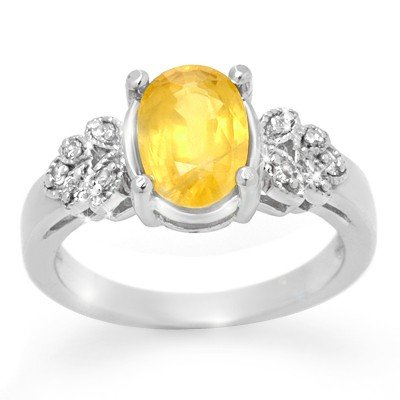 Genuine 3.05ctw Yellow Sapphire & Diamond Ring 14K Gold