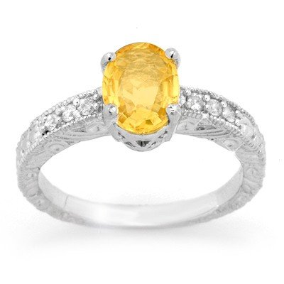 Genuine 2.28ctw Yellow Sapphire & Diamond Ring 14K Gold