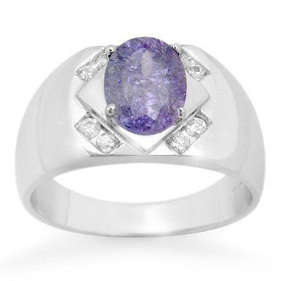 Genuine 2.80 ctw Tanzanite & Diamond Men's Ring 10K Gol