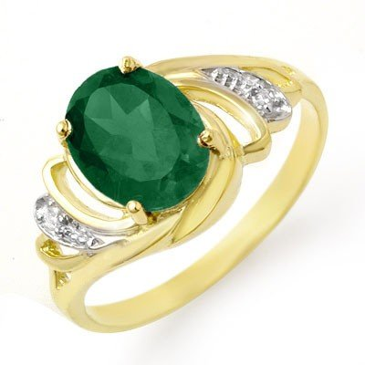 Genuine 2.14 ctw Emerald & Diamond Ring 14K Yellow Gold