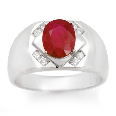 Genuine 3.3 ctw Ruby & Diamond Men's Ring White Gold