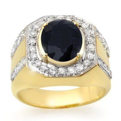 Genuine 5.75 ctw Sapphire & Diamond Men's Ring 10K Yell