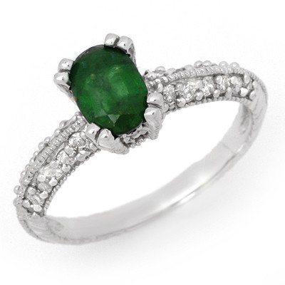 Genuine 2.0 ctw Emerald & Diamond Ring 14K White Gold