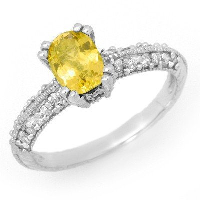 Genuine 2.0 ctw Yellow Sapphire & Diamond Ring 14K Gold