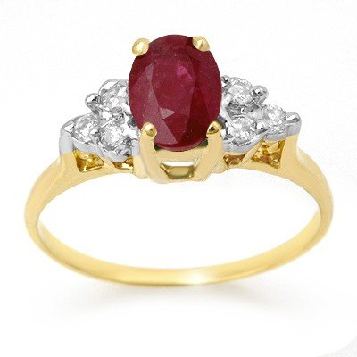 Genuine 1.35 ctw Ruby & Diamond Ring 14K Yellow Gold