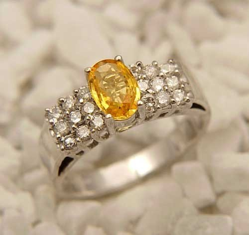 Genuine 1.50 ctw Yellow Sapphire & Diamond Ring 14K Whi