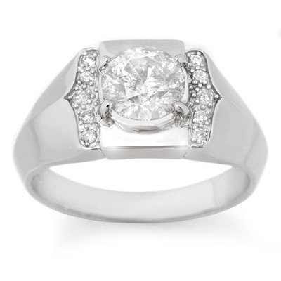 Natural 1.65 ctw Diamond Men's Ring 10K White Gold