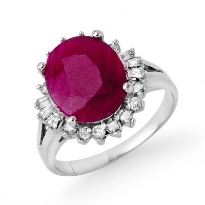 Genuine 4.06 ctw Pink Sapphire & Diamond Ring 14K White