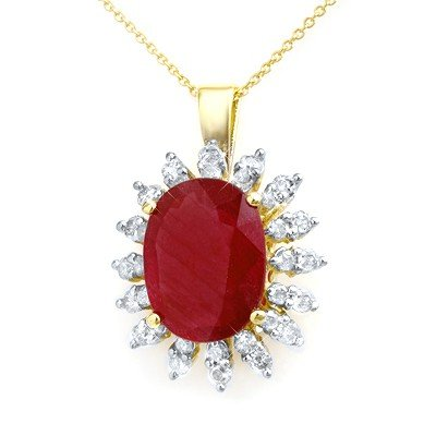 Genuine 8.25 ctw Ruby & Diamond Pendant Yellow Gold