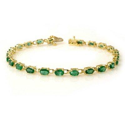 Genuine 5.0 ctw Emerald Bracelet 10K Yellow Gold