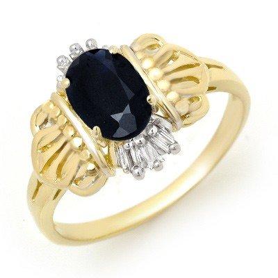 Genuine 1.04ctw Sapphire & Diamond Ring 10K Yellow Gold
